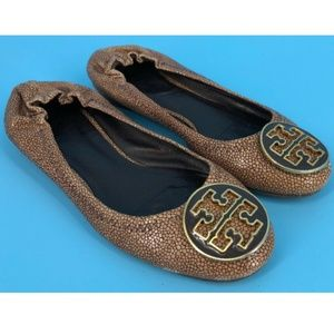 Tory Burch Textured Reva Ballet Flats Shoes Size 5